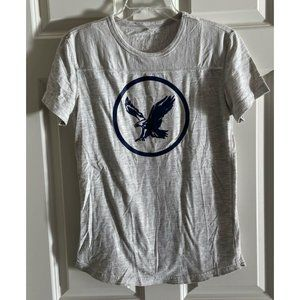 AMERICAN EAGLE OUTFITTERS Marled Light Gray Eagle Logo Tee T-Shirt Men's Small S